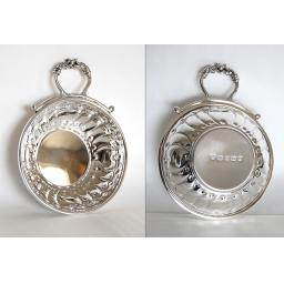 Z DISCONTINUED Sterling Silver Wine Tasting Dishes with hand chased patterns.
