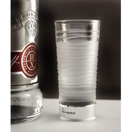 Ice Shot Glass with Silver Base