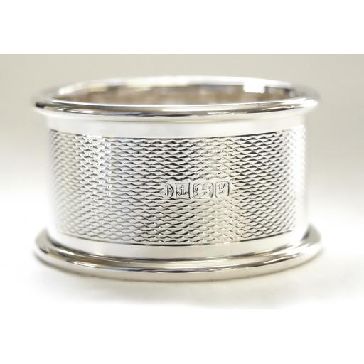Silver Napkin Ring - Engine Turned Pattern