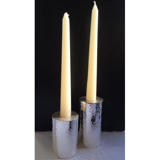 Z DISCONTINUED Sterling Silver Hammered Effect Candlesticks