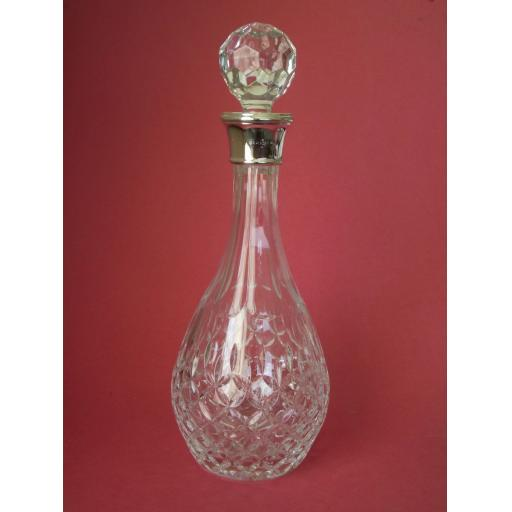 Cut Wine Decanter with Silver Collar