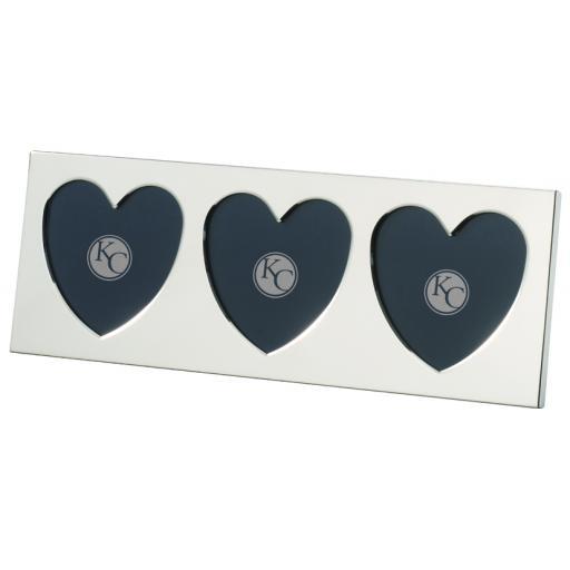 Slimline Triple Heart Photo Frame - Sterling Silver