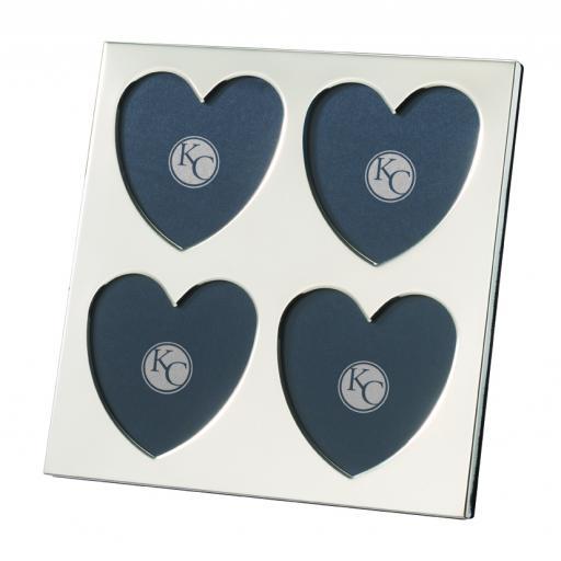 Slimline Quadruple Heart Photo Frame - Sterling Silver