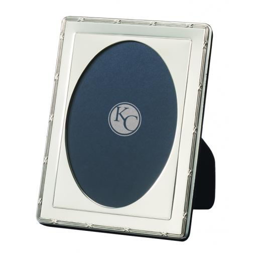 Traditional Ribbon and Reed Oval Photo Frame - Sterling Silver